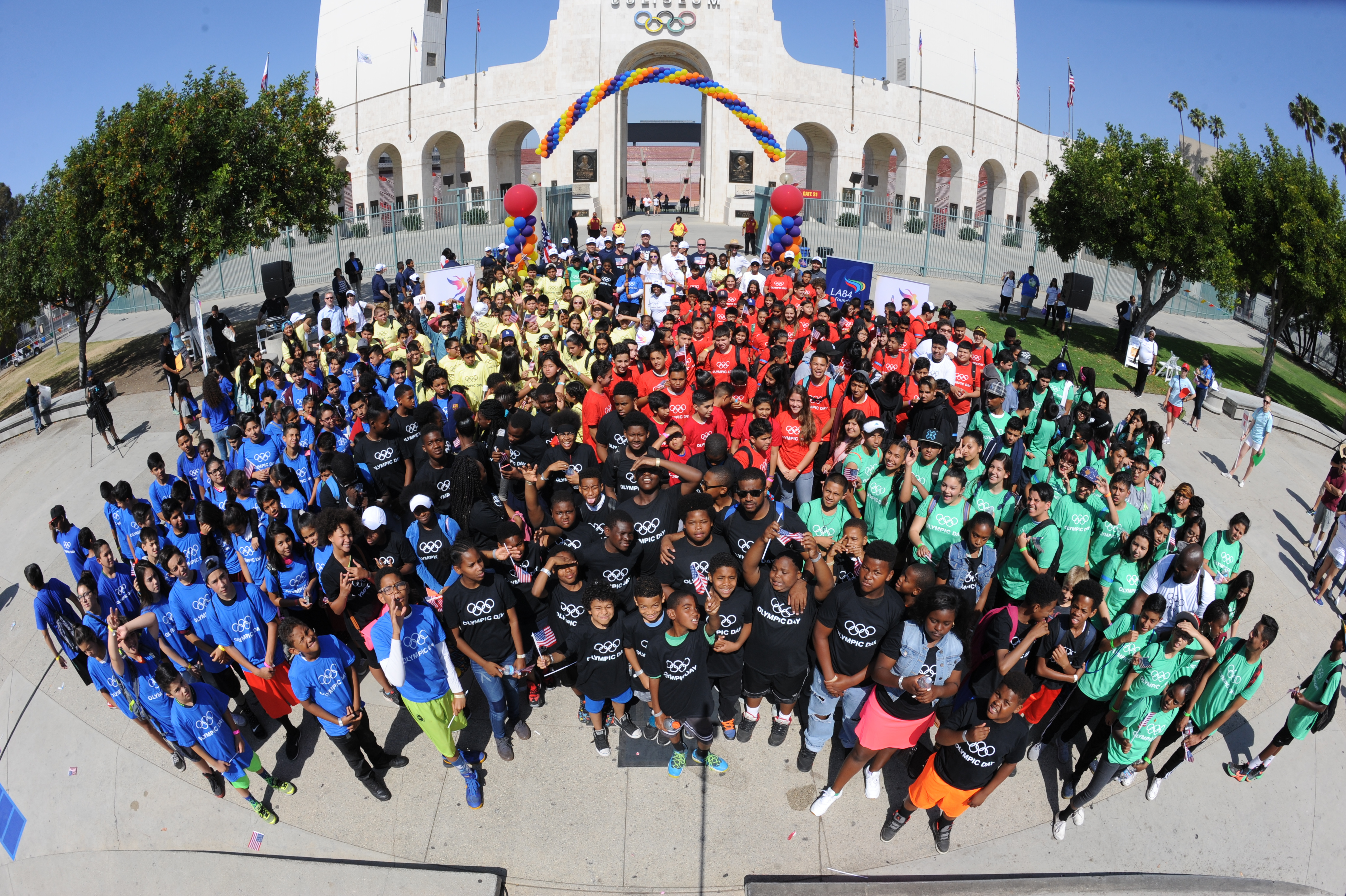 The opening ceremony for Olympic Day at the L.A. Coliseum