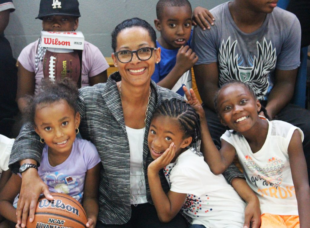 Simril with young athletes at a Los Angeles Boys and Girls Club.