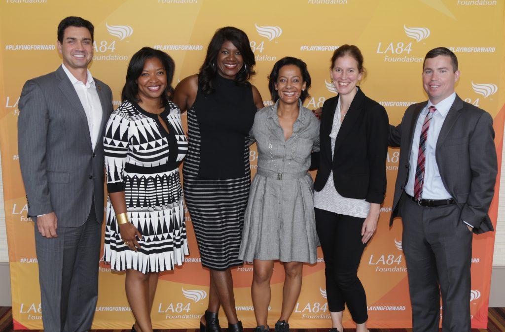 (L-R): Penn, Deans, Fitzgerald-Mosley, LA84 President & CEO Renata Simril, Morris and Cheeseman